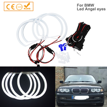 4PCS SMD LED 천사 눈 4x131mm led BMW 천사 눈 헤일로 코 튼 빛 LED SMD E36 E38 E39 E46 프로젝터 자동차 스타일링