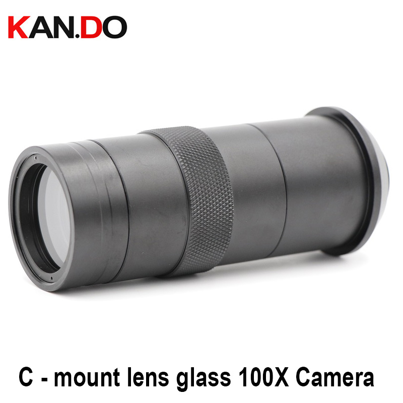 C - Mount Lens CCTV Industry Microscope Camera Glass 100X Camera Magnifier Magnification Adjustable Zoom Eyepiece Magnifier