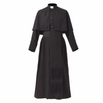 Black Priest Cassock Adult Catholic Roman Soutane Pope Missionary Uniform Medieval Clergy Robe blessume cathedral catholic white robe church clergy vestment father priest chasuble clerical catholic alb