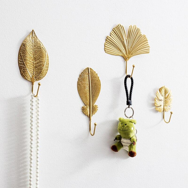 Nordic Leaf Shape Hook kreatywny złoty wieszak na kurtki uchwyt samoprzylepny wieszak ścienny wieszak na klucze Free-Hole Home ozdoba do powieszenia na ścianie