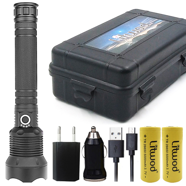 Litwod Z92 1282 50000lm عالية قوية التكتيكية مصباح ليد جيب مصباح شعلة كري XHP70.2 18650 26650 بطارية قابلة للشحن فانوس