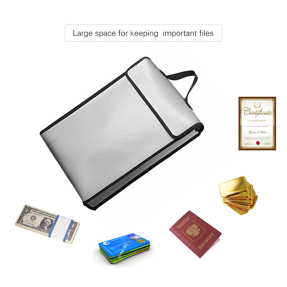 Fireproof Document Bags Waterproof Liquid Silicone Material Heat Insulation 1200℃ Fire Resistant Safe Bag for File Cash PassportFile Folder   -