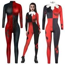 ทีมฆ่าตัวตายHarley Quinn Superhero Jumpsuit Catsuitเซ็กซี่ผู้หญิงชุดคอสเพลย์วันฮาโลวีน