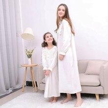 Pajamas Sleepwear Nightdress Girls Family Mommy Kids Princess Me And White Women's