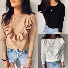 Women Long Sleeve Ruffle Frill Tops Long Sleeve Ladies Casual Blouse Pullover Jumper недорого