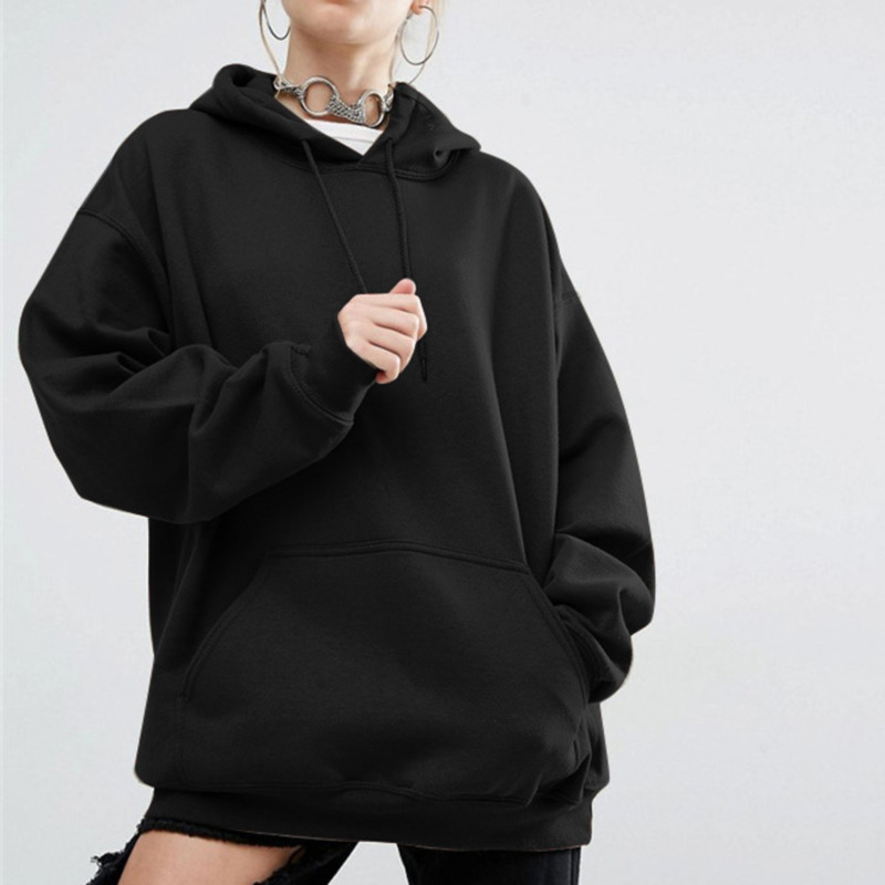 2019 Women Streetwear Tie Collar Sweatshirt Hoodies Black Grey Red Solid Women Pullover Sweatsuit