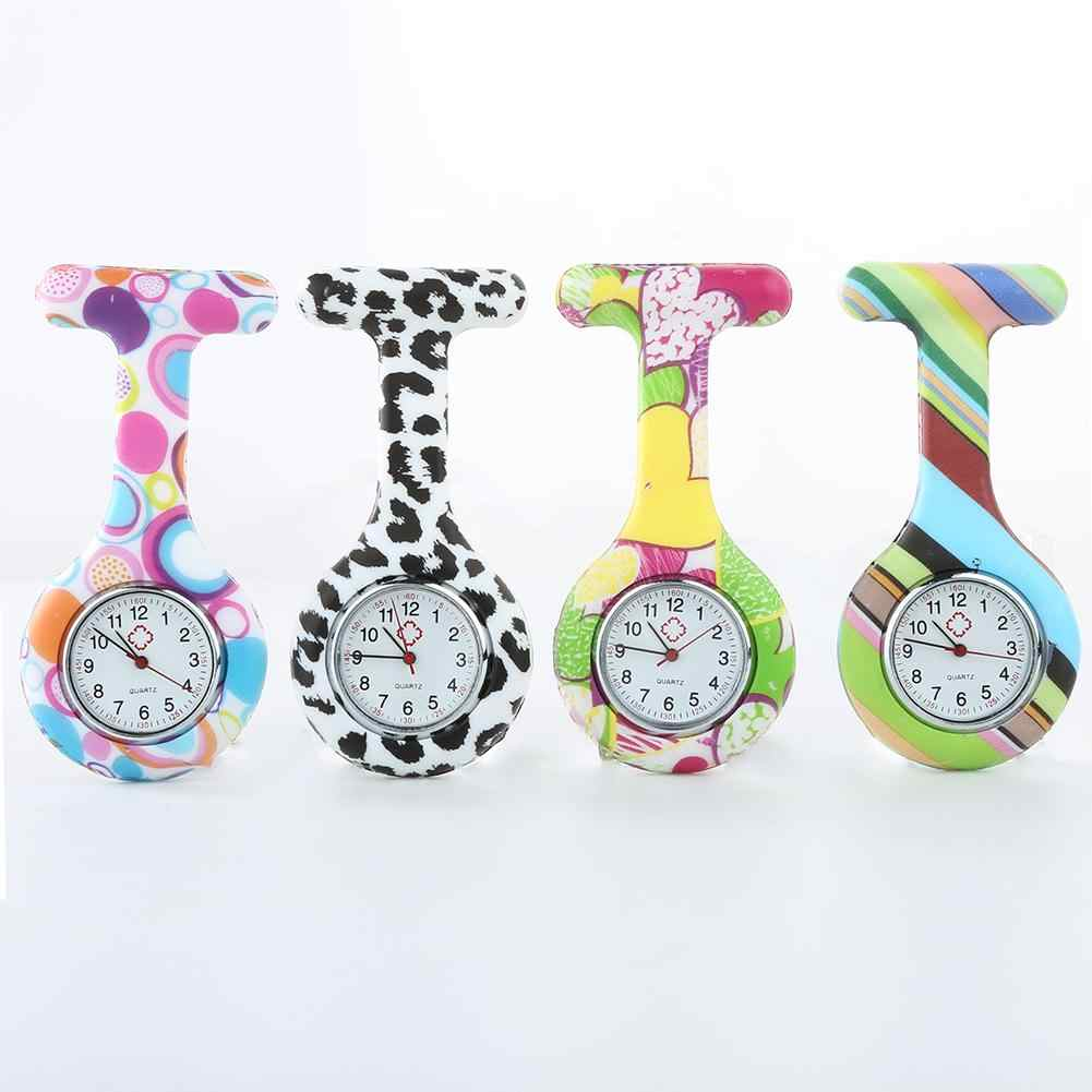 Fob Watches Portable printNumerals Round Dial Silicone Nurse Watch Brooch Tunic Numerals Watch