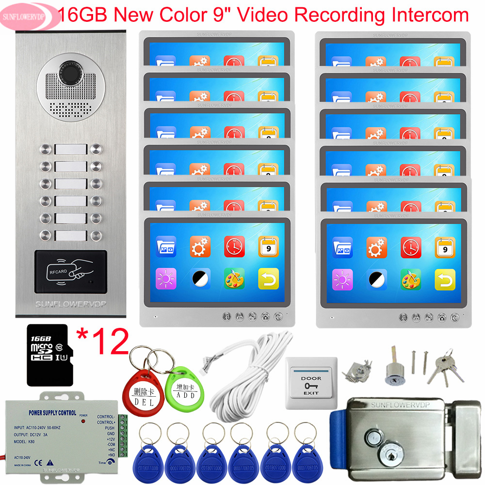 Video Intercom With Recording +16GB TF Card 9inch Intercoms For A Private House With A Lock Intercom To The 6/8/10/12 Apartments