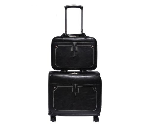 PU Leather Luggage Suitcase Set Travel Suitcase Spinner Suitcases Rolling Luggage Trolley Bags Men Business Travel Bag On Wheels