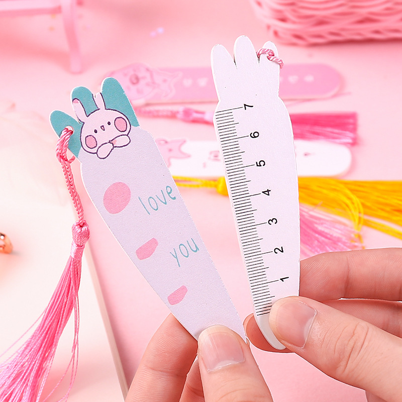 Japanese Korean Ruler Students GIRL'S Heart Cute Cartoon Wooded Bookmark Ruler Creative Stationery Anime Hipster Book Holder