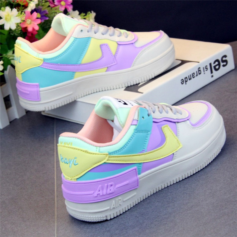 Flat Platform Shoes 2020 Skate Shoes Macarone Ulzzang Candy Woman Ins Leisure New Chic Women Tide Low Top Sneakers Streetwear