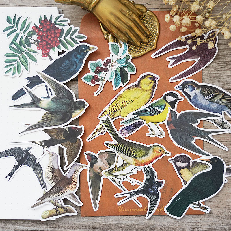 17Pcs/Pack Vintage Bird Crow Swallow Fruit Sticker DIY Craft Scrapbooking Album Junk Journal Happy Planner Decorative Stickers