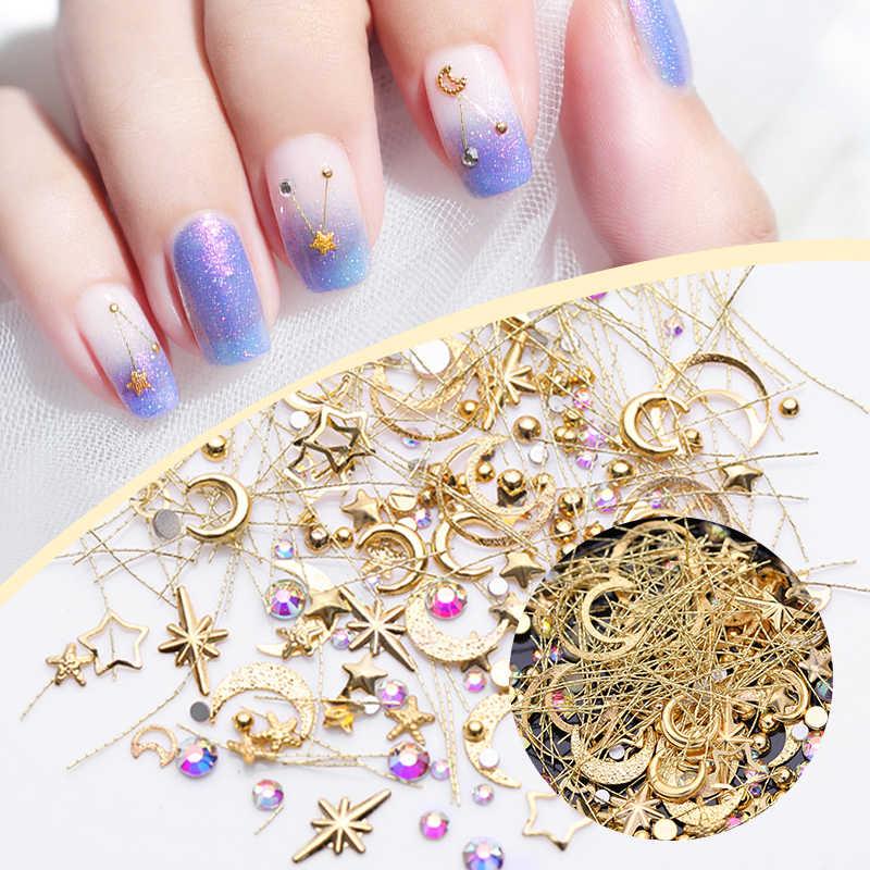 3D украшения для дизайна ногтей с плоской задней частью, Кристальные стразы, полые в форме звезды, Луны, гвозди, заклепки, мини-бусины, аксессуары для ногтей