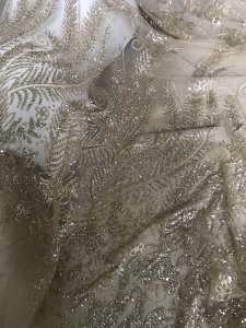 Image 2 - new design african french glued glitter lace fabric JIANXI.C 62311 african glitter lace fabric For Wedding Dress