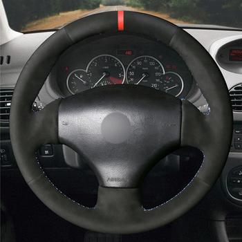 Ręcznie czarny z nitką zamszowe czerwony znacznik osłona na kierownicę do samochodu dla Peugeot 206 1998-2005 206 SW 2003-2005 206 CC 2004 2005 tanie i dobre opinie CN (pochodzenie) Plush Kierownice i piasty kierownicy 0 32kg Material Artificial leather PU Leather Suede 16inch for Peugeot 206 1998-2005 206 SW 2003-2005 206 CC 2004 2005