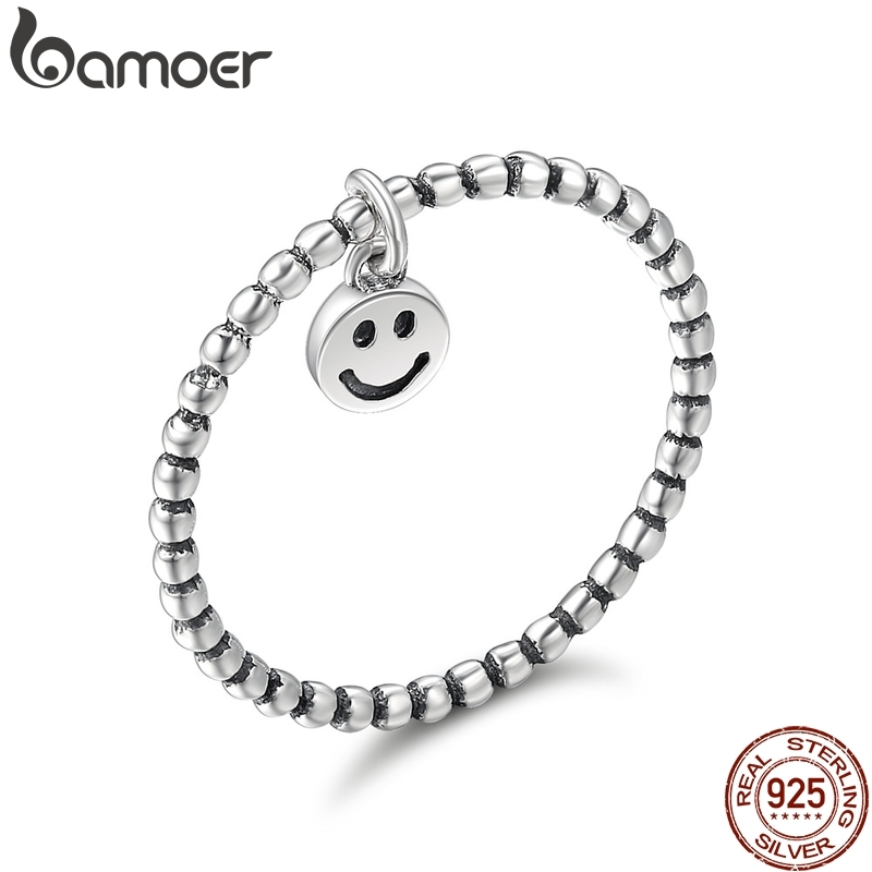 BAMOER Hot Sale 100% 925 Sterling Silver Lovely Smile Face Dangle Finger Rings For Women Sterling Silver Jewelry Gift SCR147