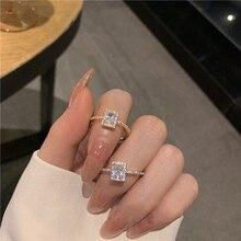 MENGJIQIAO koreański delikatny plac Cubic cyrkon pierścienie dla kobiet dziewczyn Micro betonowa otwarty regulowany pierścień biżuteria prezenty