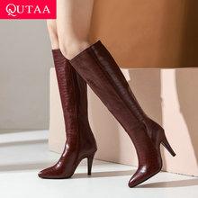 QUTAA 2021 Thin HIgh Heel Knee High Boots Keep Warm Zipper Winter Women Shoes Pointed Toe PU All Match Long Boots Big Size 34-43