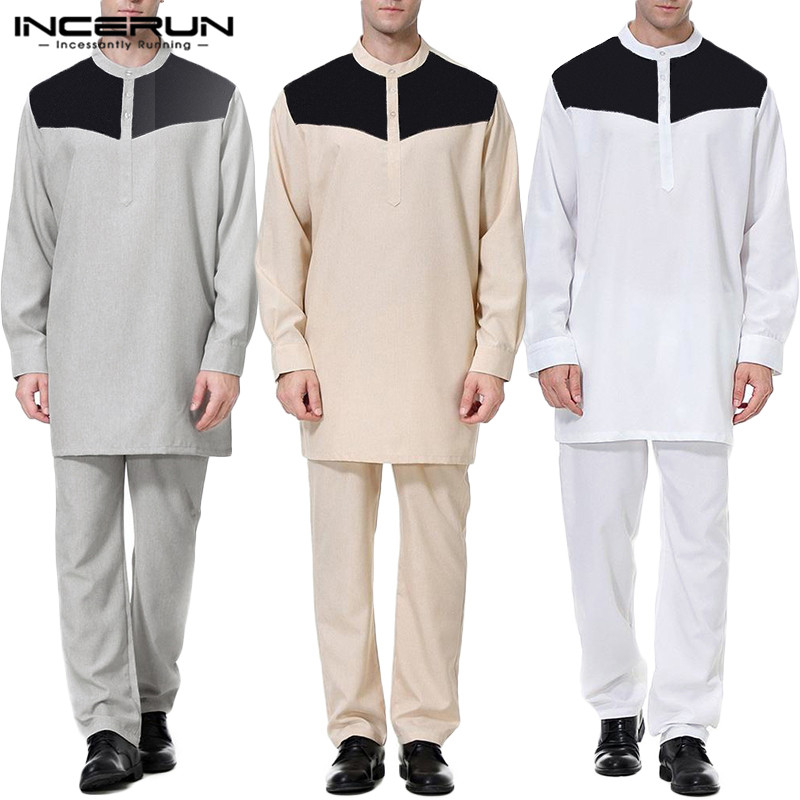 Muslim Men Sets Patchwork 2021 Long Sleeve Casual Shirts Dubai Islamic Arabic Kaftan Long Pants 2 Pieces Men Suits S 5XL INCERUN