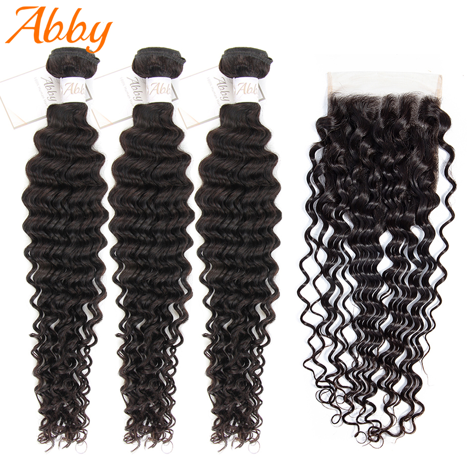 Peruvian Deep Wave Human Hair Bundles With Closure Remy Abby Hair Deep Wave 3/4 Bundles With 4*4 Closure Human Hair Weave Sale