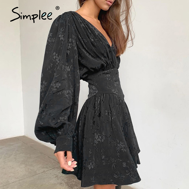 Simplee Sexy V-neck Black Printed Women Dress Elegant Female Party Mini Dress Lantern Sleeve Fashion Pleated Party Night Dresses