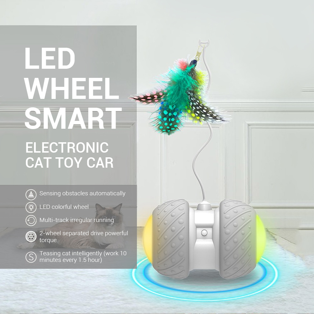 Smart Electronic font b Pet b font Cat Toy Automatic Sensing Obstacle Wheel Rechargeable Colorful LED