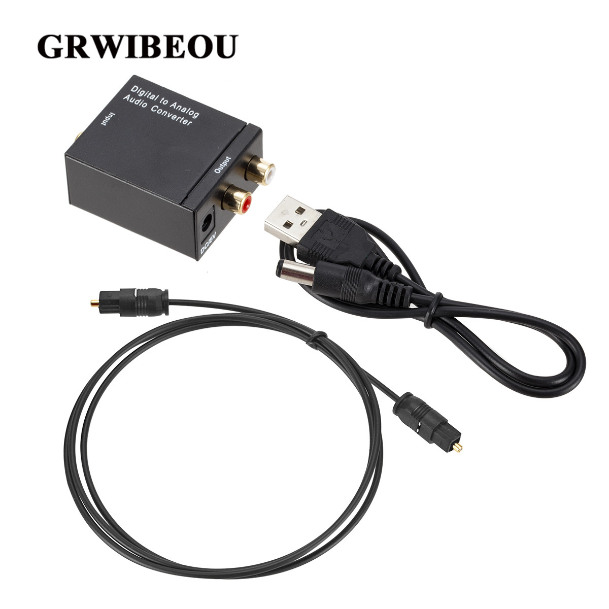 Grwibeou Digital To Analog Audio Converter Optical Fiber Toslink Coaxial Signal To RCA R/L Audio Decoder SPDIF ATV DAC Amplifier