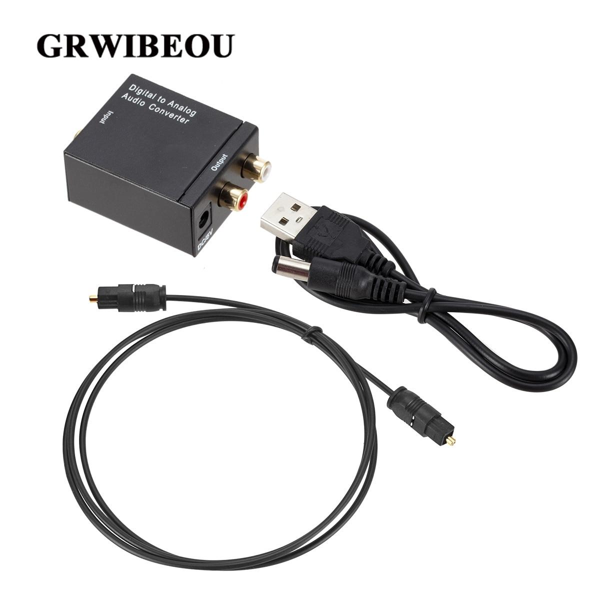 Grwibeou digital ao conversor de áudio analógico de fibra óptica toslink sinal coaxial para rca r/l decodificador de áudio spdif atv dac amplificador