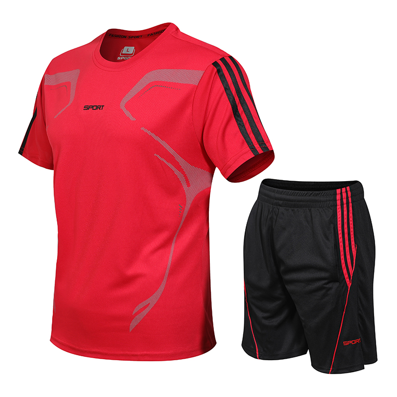 Men Fashion Sets Summer Suit Fitness Suit Quick-drying Short-Sleeved Shorts Tracksuit Men O-Neck Solid Sportswear Two-piece