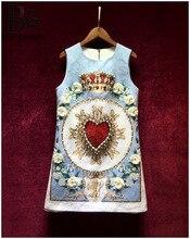 Baogarret Runway Custom Summer Jacquard Dress Womens luxurious Beading Crystal Appliques Printed Party Sleeveless Short
