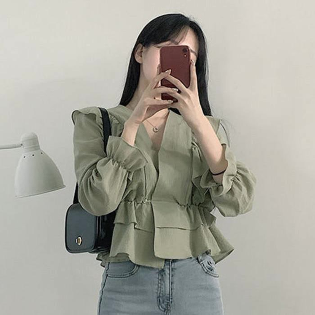 Ezgaga Women Blouse Korean Chic Sweet Solid V-Neck Ruffled Long Sleeve Slim Waist Tender Crop Tops Fashion Shirts Elegant 2