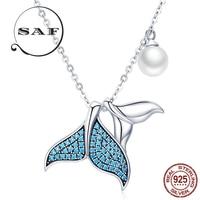 Premium Pearl Pendant Necklace Mermaid S925 Sterling Silver Necklace Ocean Fishtail Pendant Necklace Original Innovative