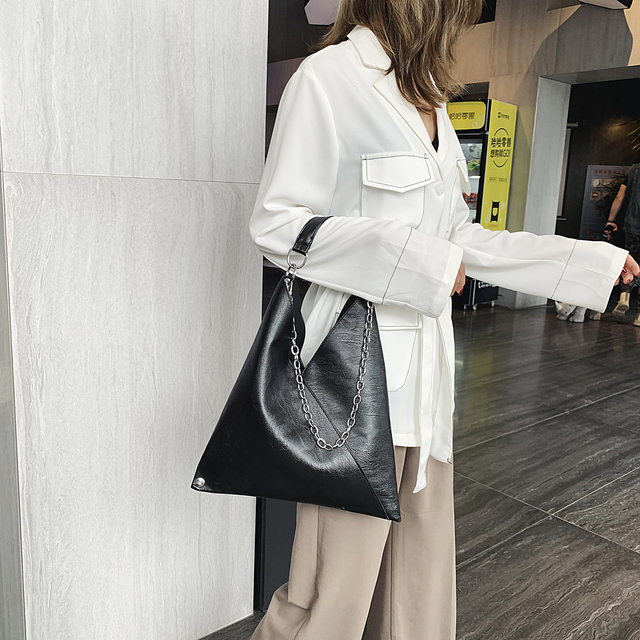 Vintage Leather Shoulder Bags For Women 2019 Chain Designer Lady Crossbody Bag Female Cool High Capacity Solid Color Handbags 1