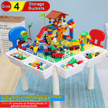 Chairs Table for Building Blocks Combination Give 151 Granules Car 78 4 Storage Buckets