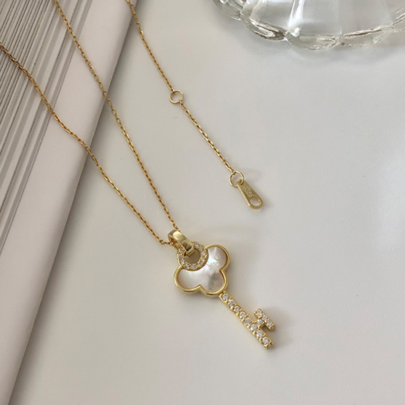 Beautiful Key Zircon Necklace Real 925 Sterling Silver Gold Charm Shell Necklace Fashion Women Choker Necklace Wedding Jewelry