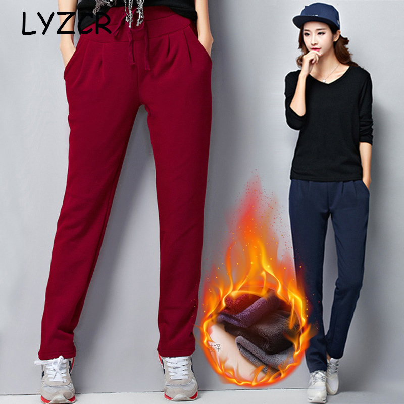 Warm Fleece Women's Pants Winter Big Size Loose Harem Thick Velvet Pants For Women High Waist Pants Woman 5XL Winter Trousers