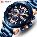 CURREN Мужские часы Топ бренд нержавеющая сталь мужские часы с хронографом кварцевые часы мужские спортивные часы Relogio Masculino Reloj Hombr