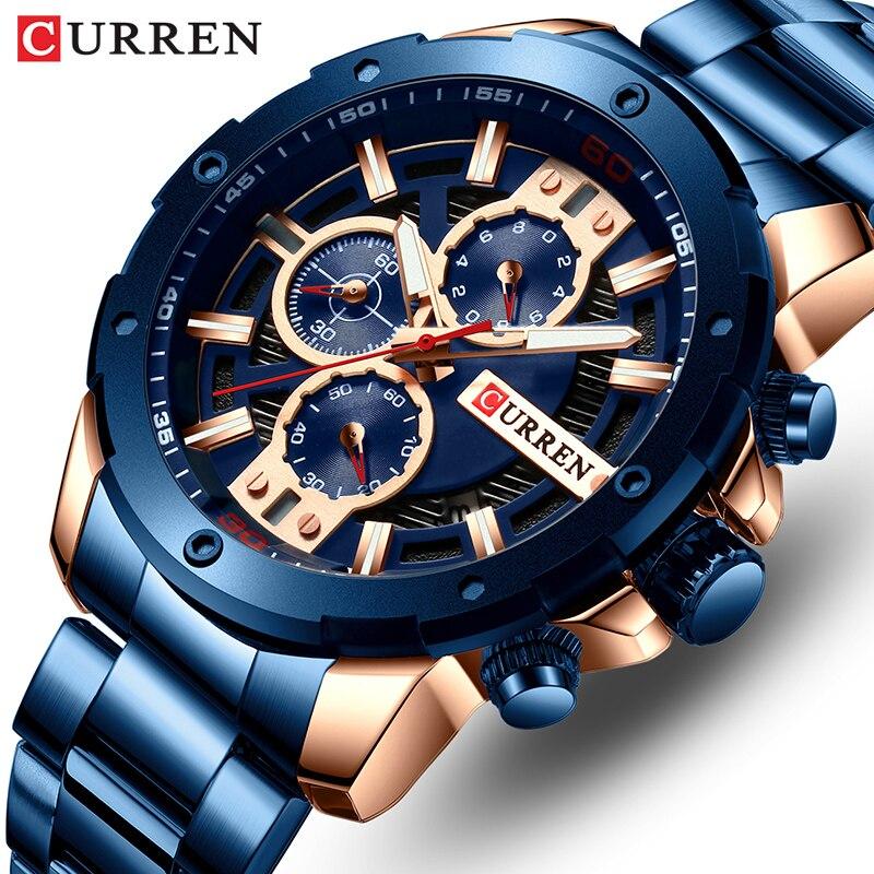 CURREN Men Watch Top Brand Stainless Steel Mens Watches Chronograph Quartz Watch Men Sports Clock Relogio Masculino Reloj Hombr