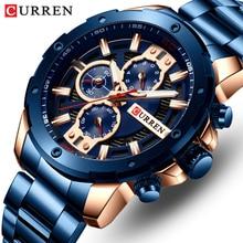 CURREN mężczyźni oglądać najlepsze marki męskie zegarki ze stali nierdzewnej zegarek chronograf kwarcowy mężczyźni zegar sportowy Relogio Masculino Reloj Hombr
