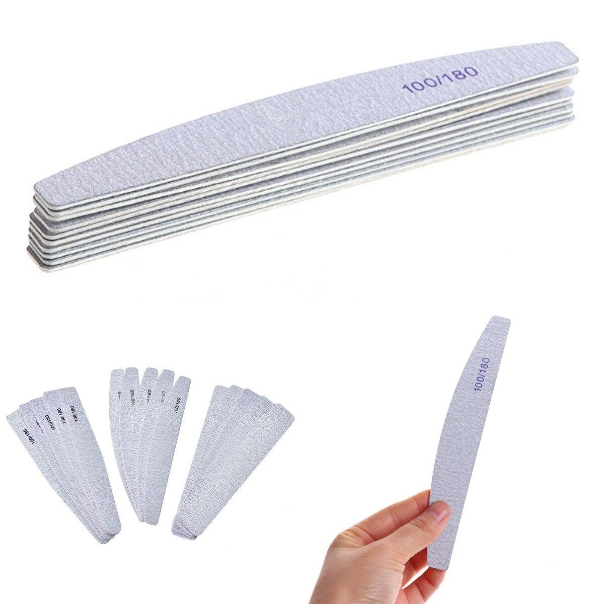 1/10 шт. профессиональная 100/180 деревянная пилка для ногтей, буфер для ногтей, наждачная бумага, тонкий набор, баф для ногтей, деревянные пилки д...
