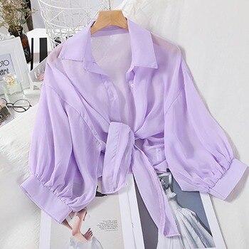 Shirts Women Half Sleeve Button Up Chiffon Blouses 6