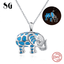 SG new arrival cute animal elephant glowing chain necklace&pendant 925 sterling silver diy fashion jewelry making for women gift