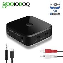 Adaptador estereofônico 5.0mm aux jack/spdif do usb da música audio da fibra ótica APTX HD do receptor do transmissor de bluetooth 3.5 para o computador da tevê
