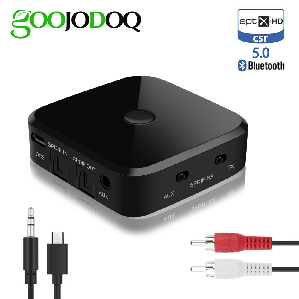 Bluetooth Transmitter Receiver Stereo Bluetooth 5.0 Optical Fiber APTX-HD Audio Music USB Adapter 3.5mm AUX Jack/SPDIF For TV PC