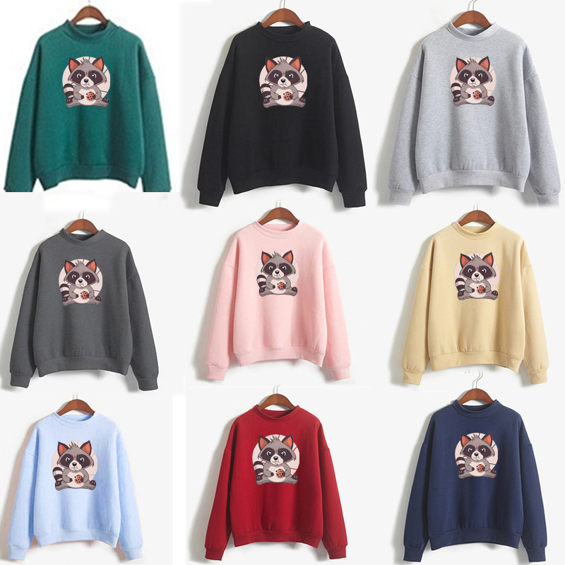 Autumn Winter Cartoon Raccoon Print O-Neck Long Sleeve Women's Broadcloth Tops Casual Student Hoodies Polyester Sweatshirt
