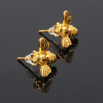 1 Pair Cute Tiny Honey Bee Stud Earrings Insect Bumble Bee Jewelry Gold Silver R7RF image