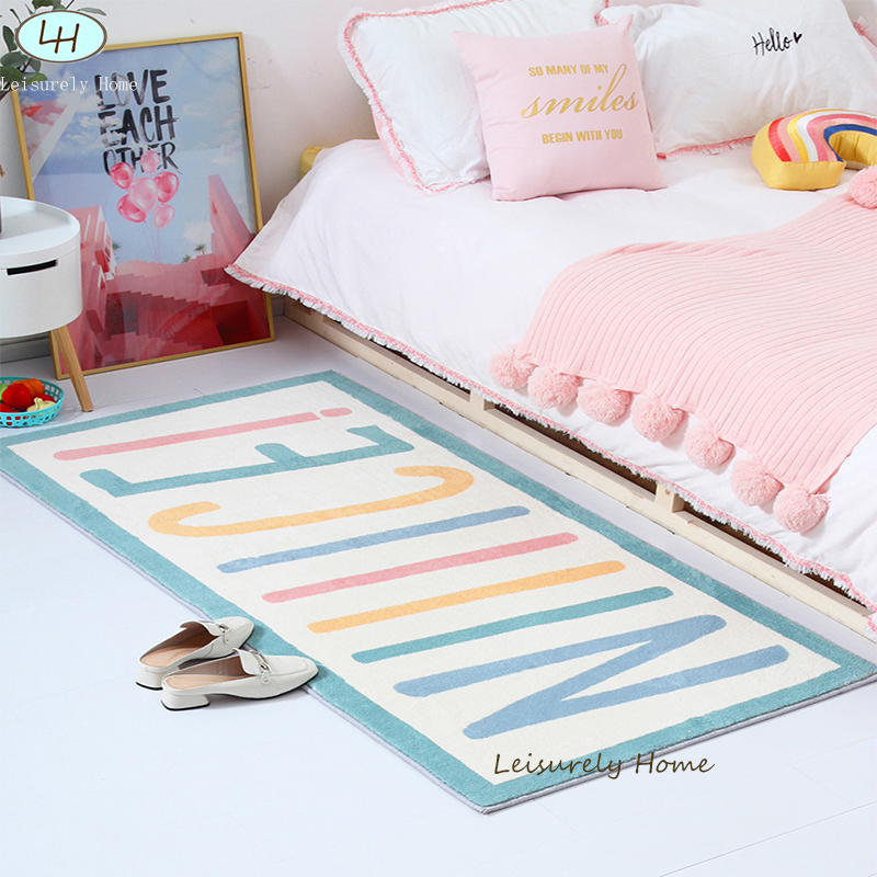 Letter  Lamb Velvet Material Nordic Bedside  Rug Living Bedroom Decorative ( One Fan Can Only Buy One Rug At Fans Price)