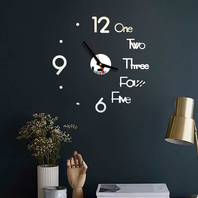 Wall-Clock Mirror Office-Decor Surface-Sticker Bedroom Digital Silent DIY 3D  title=