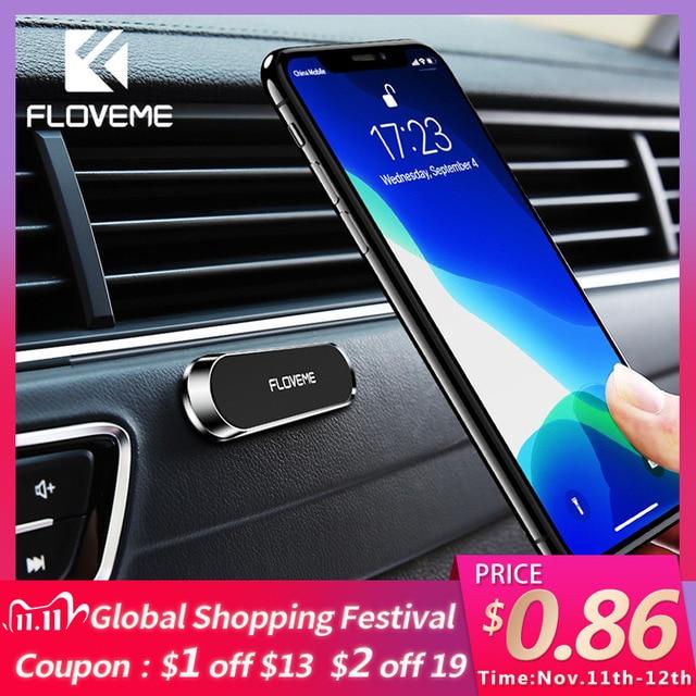 Soporte magnético de teléfono de coche FLOVEME para teléfono en coche soporte de teléfono de banda magnética fuerte para iPhone 11 Pro Samsung Universal Suporte