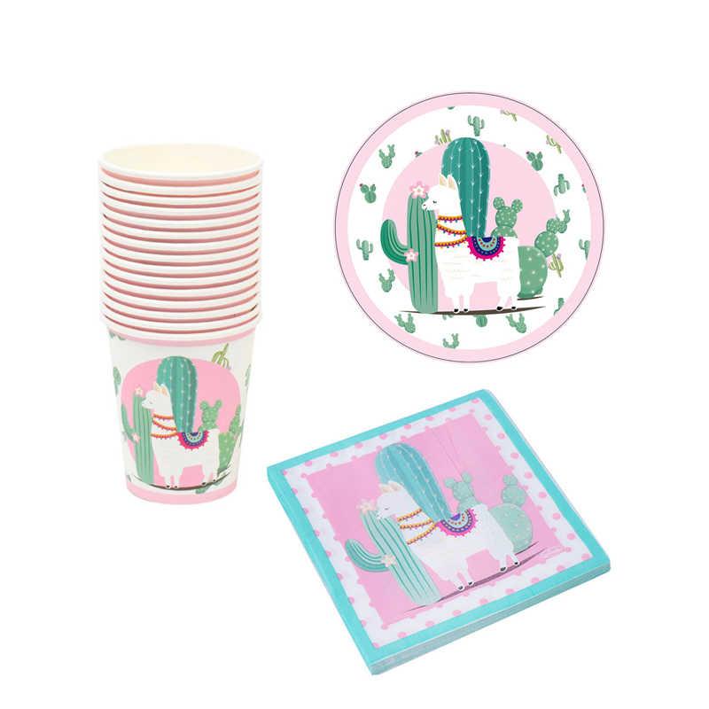 Llama Alpaca tema Fiesta platos y vasos de papel servilletas para fiesta de bienvenida para el futuro bebé niños feliz suministros de decoración para fiesta de cumpleaños